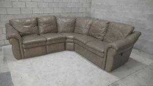 (Free Delivery) - La-Z-Boy Leather Sectional Sofa w/ Recliners