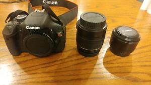 Canon EOS Rebel T3i w/EFS 18-55mm lense + EF 50mm 1:1.8 lense