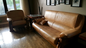 Genuine Leather & Oak Couch Set