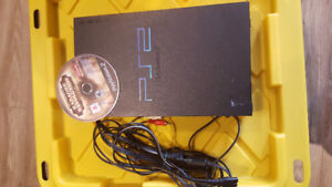 PS2 with cords, no controllers, and 1 game