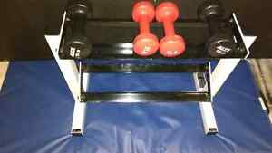 36 pds of Dumbbells + Rack stand