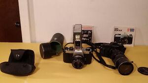 2 pentax camera   1 pentacon lens.  1 soligor  zoom