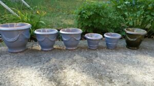 Clay-based plant pots - painted/glazed