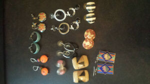 Assorted costume earrings