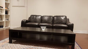 Free Simil Black Leather sofa and Coffee table