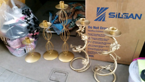 Gold Candle Holders 5pc.