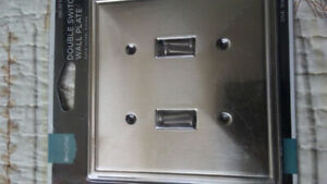 Double Switch Satin Nickle Finish Wall Plate