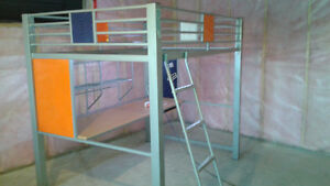 Sturdy Metal Loft double bed - no Mattress