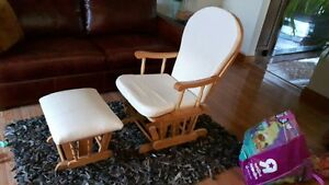 Beautiful Wooden Rocking Chair and Stool!