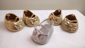 Two Pairs Build a Bear Gold Ballet Slippers & Bonus Slipper