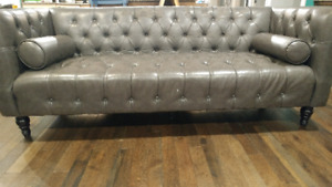 Grey Tufted Leather Couch w/ Pillows: Used
