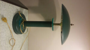 Green metal and glass desk/table lamp
