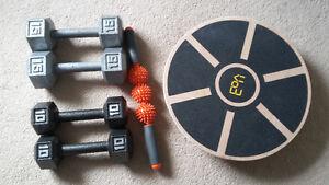 tension roller, wooden balance board
