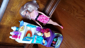 Barbie and snack area