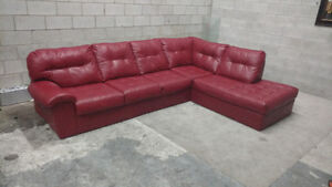 (Free Delivery) - Red Bonded Leather Sectional Sofa