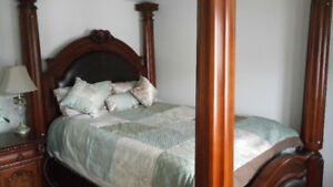 6 piece four-poster solid wood Queen Bed Set for sale