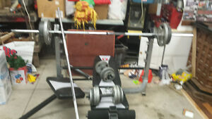 Olympic Bench fully adjustable +weights +bars Windsor Region Ontario image 1