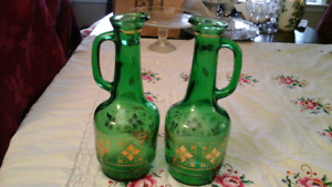 GREEN CRYSTAL GLASS DECANTERS WITH GOLD DETAIL - Sale