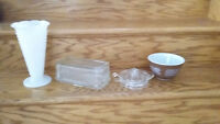 GLASS BUTTERDISH, GLASS JUICER, PYREX BOWL, MILKGLASS VASE