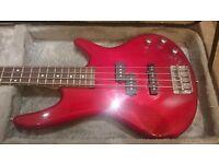 Ibanez GSR200 transparent red 4 string bass guitar