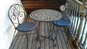 Wrought Iron Bistro Set & Glass Top