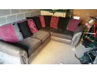 Dfs Raspberry black and grey pillow back sofa