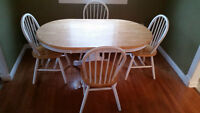 Solid Wood Dining Table with 4 Chairs - Good Condition