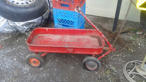 antique metal little red wagon in great condition