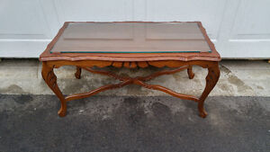 ANTIQUE GLASS TOP COFFEE TABLE