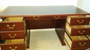 EXECUTIVE DESK WITH FILE PLUS TWO LEATHER CHAIRS $749.00