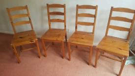 4 Ikea JOKKMOKK pine dining chairs