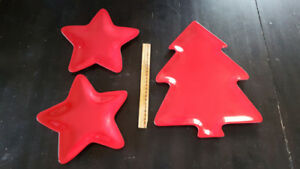Three Melamine Christmas Serving Dishes - Tree and Stars