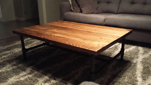 Solid reclaimed maple coffee table