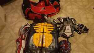 Youth goalie hockey gear (pads, blocker, trapper chest protector