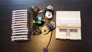 SNES with 13 games and two controllers.
