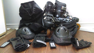 Roller Blades with Knee Pads, Elbow Pads, Hand Guards, Glove&Bag