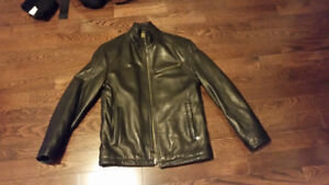 Andrew Marc New York Genuine Leather Jacket Mens Small Black