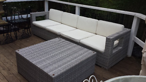 LARGE WICKER SOFA and COFFEE TABLE