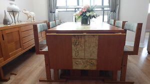 Solid wood antique table and credenza