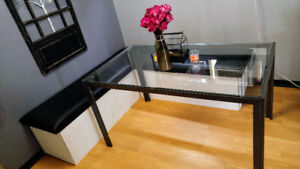 Rectangle Metal and Glass Dining Table