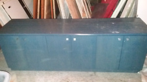 2 x grand bureau bleu en bois massif de 86x23x30 avec 6 portes