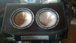 "2 12"" subs in Bassworx ported box and 2 amps"