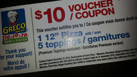 """Greco coupons for $10 good for 12"""" 5 topping pizza"""