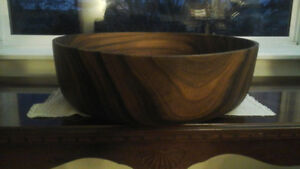 Large wood bowl. 18 inches! Turned from one piece of wood.