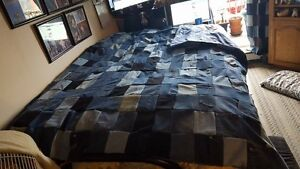 "Hand-Made Jean Patch Comforter Double (75"" wide x 82"" Long)"
