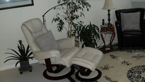 Ashley leather ivory recliner & ottoman