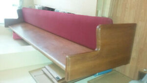10 ft Wooden Pew Upholstered Seat