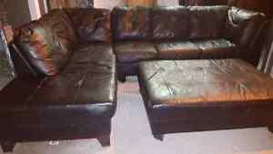 Full grain leather sectional and ottoman