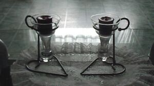 Sliver heart base candles holders with heavy glass $10 OBO