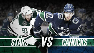 == CHEAP! - ROW 4! (2) IN ROW---CHEAP CANUCKS vs DALLAS STARS ==